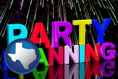 texas map icon and party planning